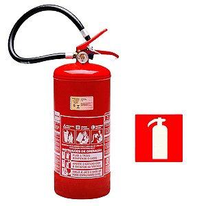 Extintor de Incêndio Pó Químico ABC 8kg - Classe ABC  + 1 Placa Sinalizadora