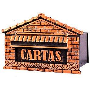 Caixa de Correio Colonial Casinha para Muro com Porta Cadeado Fercar Nº 6