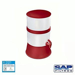 Filtro de Água Compacto com Vela  Cerâmica Vermelho Sap Filtros