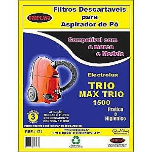 Kit 3 Sacos para Aspirador de Pó Max Trio 1500 Electrolux Compatível