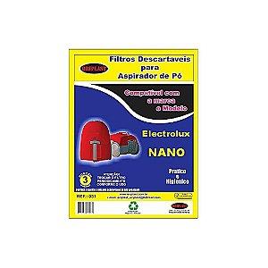 Kit 3 Sacos para Aspirador de Pó Nano Electrolux Compatível