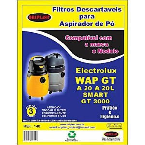 Kit 3 Sacos para Aspirador de Pó A20 | GT3000 | GT2000 Electrolux Compatível