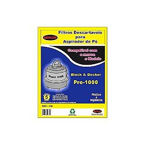 Kit 3 Sacos para Aspirador de Pó Black Decker Pró 1000 Compatível