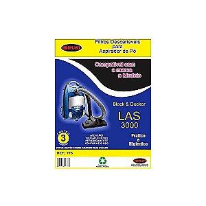 Kit 3 Sacos para Aspirador de Pó Black e Decker Las 3000 Compatível