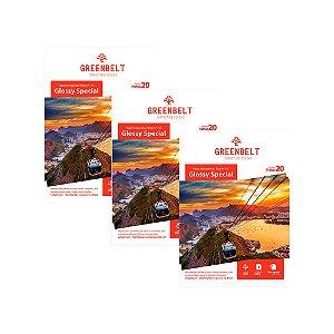 Kit 3 Pacotes de 20 folhas Papel Fotográfico A3 Glossy 180gr Greenbelt