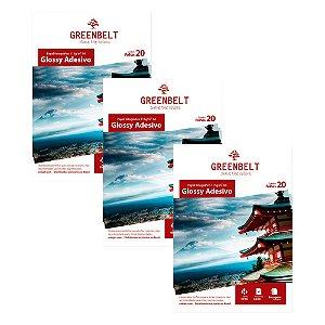 Kit 3 Pacotes de 20 folhas Papel Fotográfico Glossy Adesivo A4 115g Greenbelt