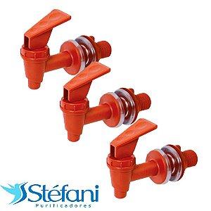 Kit 3 Torneiras para Filtro de Água Stéfani Clic Marrom PVC