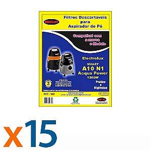 Kit 5 Pacotes com 3 Sacos para Aspirador de Pó A10-Acqua Power 1200w Electrolux Compatível