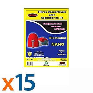 Kit 5 Pacotes com 3 Sacos para Aspirador de Pó Nano Electrolux Compatível