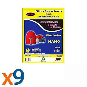Kit 3 Pacotes com 3 Sacos para Aspirador de Pó Nano Electrolux Compatível