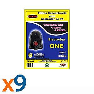 Kit 3 Pacotes com 3 Sacos para Aspirador de Pó One Electrolux Compatível
