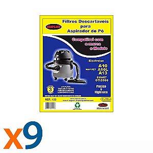 Kit 3 Pacotes Com 3 Sacos para Aspirador de Pó A10-A13-GT2000 Electrolux Compatível