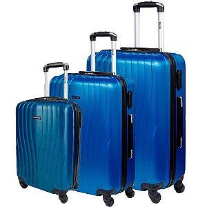 Kit 3 Malas P M G de Viagem Com Rodinhas Sestini  360° Zigma - Azul