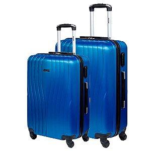 Kit 2 Malas M G de Viagem Com Rodinhas Sestini  360° Zigma - Azul