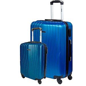 Kit 2 Malas P G de Viagem Com Rodinhas Sestini  360° Zigma - Azul