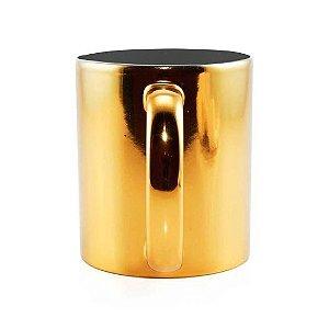 Caneca para Sublimação de Cerâmica Espelhada Dourada | Interior Preto