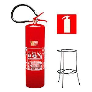 Extintor de Incêndio Agua - Classe A - 10 Litros + Suporte Tripé Cromado + Placa Sinalizadora
