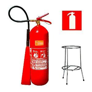 Extintor de Incêndio Gás Carbônico Co2 6kg - Classe BC + Suporte Tripé Cromado + Placa Sinalizadora