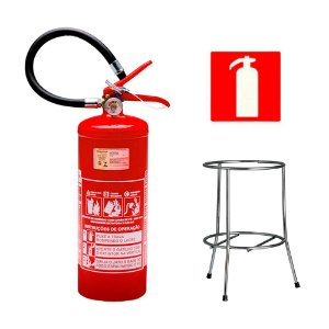 Extintor de Incendio Pó Químico ABC 4kg - Classe ABC + Suporte Tripé Cromado + Placa Sinalizadora
