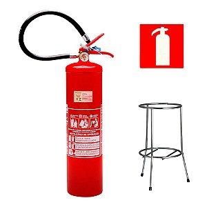 Extintor de Incendio Pó Químico ABC 6kg - Classe ABC + Suporte Tripé Cromado + Placa Sinalizadora