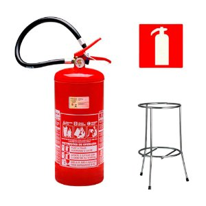 Extintor de Incêndio Pó Químico BC 8 kg - Classe BC + Suporte Tripé Cromado + Placa Sinalizadora
