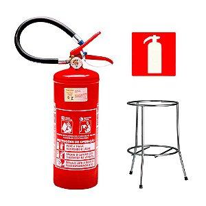 Extintor de Incendio Pó Químico Classe BC  4kg + Suporte Tripé Cromado + Placa Sinalizadora