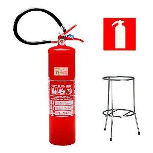 Extintor de Incendio Pó Químico Classe BC 6kg + Suporte Tripé Cromado + Placa Sinalizadora