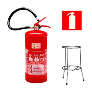 Extintor de Incêndio Pó Químico ABC 8kg - Classe ABC  + Suporte Tripé Cromado + Placa Sinalizadora