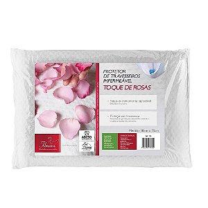 Capa de Travesseiro Protetor Impermeável Toque de Rosas Poliéster 50x70cm