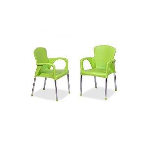 Kit 2 Cadeiras Poltrona Colorida Plastico E Aço Cromado Verde