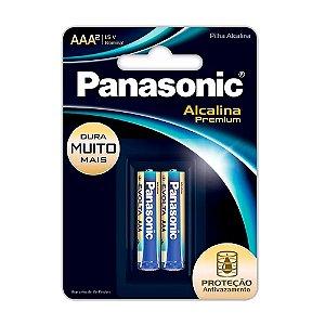 Pilha Alcalina Premium AAA Panasonic Pequena Com 2 Unidades