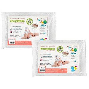 Kit 2 Travesseiros para Bebê Antissufocante Visco Toque de Rosas Fibrasca Z4441