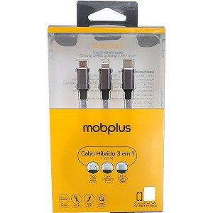 Cabo 3 em 1 USB: Lightning, Micro USB e USB-C -MobPlus