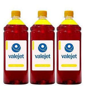Kit 3 Refil de Tinta para Epson Universal Yellow 1 Litro Valejet