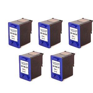 Kit 5 Cartucho HP 22 | C9352A | 28 | C8728AL | 57 | C6657AL Universal Colorido Compatível 14ml