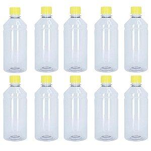 Frasco Transparente Cristal Com Tampa Amarela 500ml 10 unidades