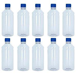 Frasco Transparente Cristal Com Tampa Azul 500ml 10 unidades