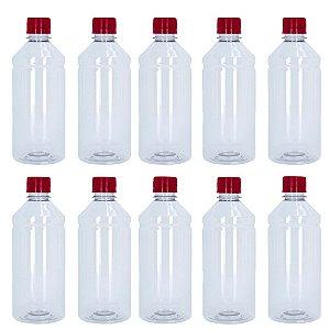 Frasco Transparente Cristal Com Tampa Vermelha 500ml 10 unidades