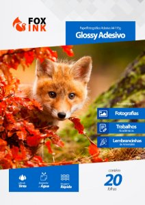 Papel Fotográfico Glossy Adesivo A4 115g Fox Ink 20 Folhas