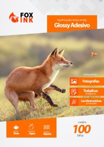 Papel Fotográfico Adesivo Glossy 180g Fox Ink A4 100 Folhas