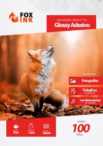 Papel Fotográfico Glossy Adesivo A3 135g Fox Ink 100 Folhas