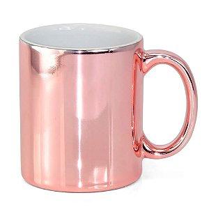 Caneca para Sublimação de Cerâmica Espelhada Rosa