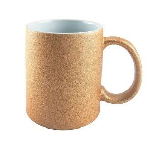 Caneca de Cerâmica para Sublimação Glitter Bronze
