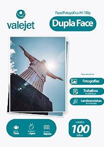 Papel Fotográfico Glossy Dupla Face A4 180g Valejet 100 Folhas