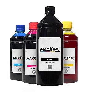 Compatível Kit 4 Tintas Canon Gl-190 Black 1 Litro Coloridas 500ml Maxx Ink