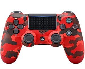 Controle de PS4 Vermelho Camuflado