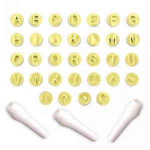 Kit Carimbos Letras Amarelo 35 Pecas