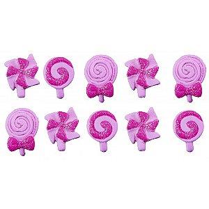 Confeito 308 Pirulitos Baby Rosa 1un