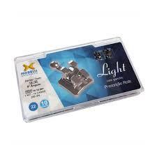 """Kit de Bráquetes 10 casos Prescrição Roth Light .022"""" Can. Sup. 9° Ang. Gancho Can./Prés"""