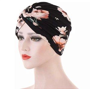 Turbante floral - preto